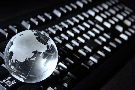 cultural history: Blue Globe and Computer Keyboard for background