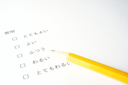 Pen Pointing at Survey and Questionnaire Form, business concept photo