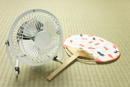 electric fan  and  uchiwa photo