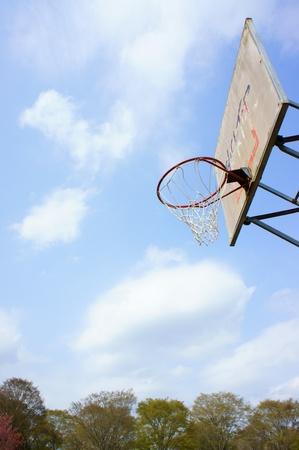 Basket hoop in a blue sky photo