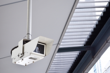 Video security camera inside of modern buildings