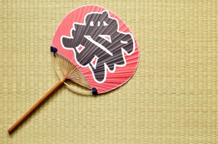 japanese fan uchiwa  on tatami photo