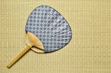 japanese fan uchiwa  on tatami Stock Photo - 14282607