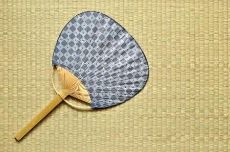 japanese fan uchiwa  on tatami Stock Photo - 14282607