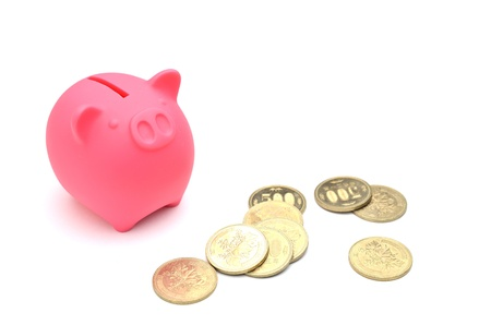 piggy bank and japanese money photo
