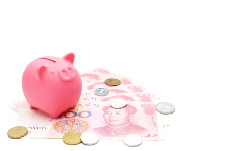 piggy bank and chinese money photo