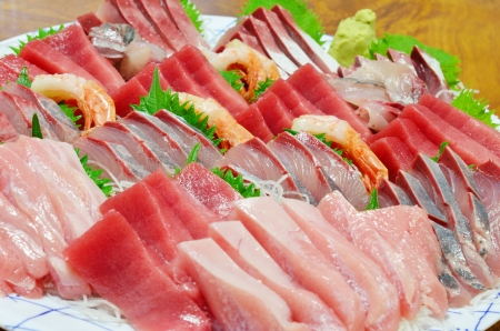 Mixed sashimi, raw fish Stock Photo