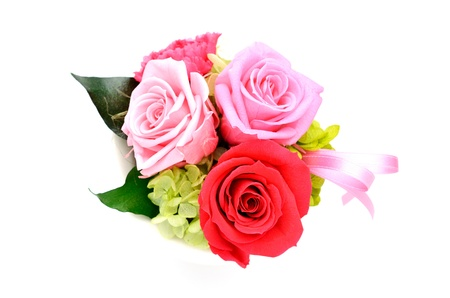 Bunch of pink roses and red isolated on white photo