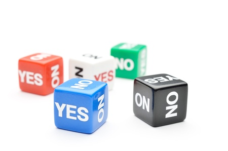 Dice with words Yes, No Stock Photo