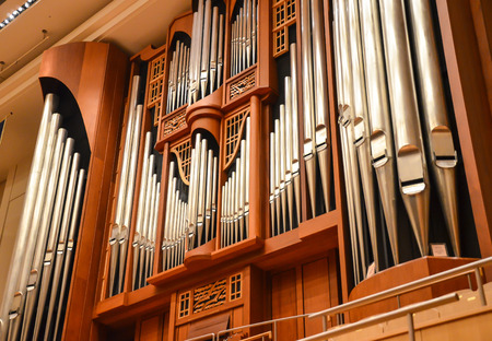 pipe organ: Large pipe organ Stock Photo