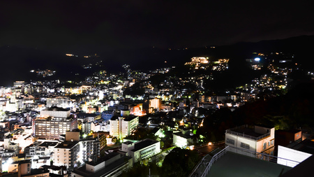 beautiful japan city lights mountain side Stock Photo