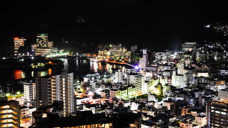 beautiful japan city lights bay area Stock Photo