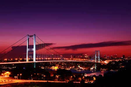 nightview: this is bosphorus bridge which is connect between asia side and europe. Stock Photo