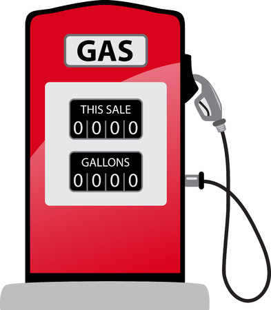 unleaded: Gasoline pump gas old petrol red fuel with nozzle Illustration