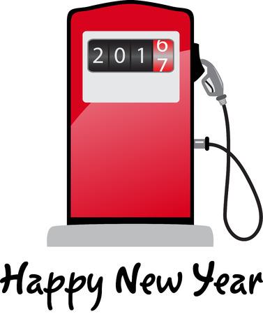 Happy new year 2017 gas pump pushing down 2016 Vetores