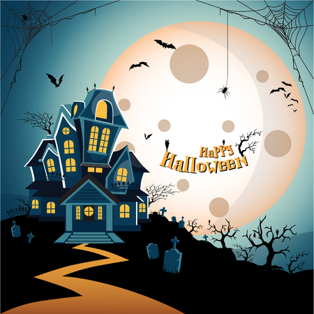 Haunted house halloween background with tree, bat, tomb, tombstone, spider, web, and cobweb at grave, graveyard. Happy Halloween theme. Happy Halloween greeting card.