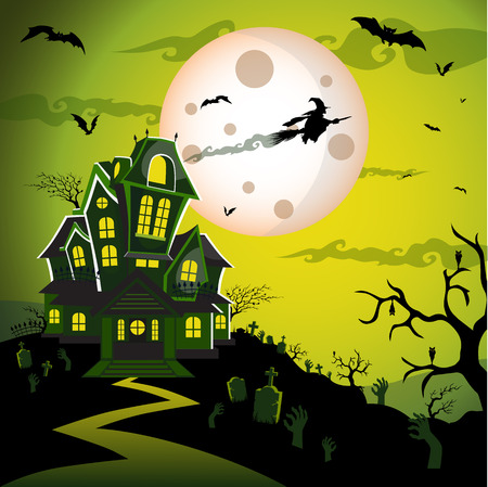 Witch flying on a magic broomstick over the spooky haunted house castle with full moon in background with bat, tree, tomb, tombstone, grave, and graveyard. Happy halloween theme. Happy halloween greeting card.