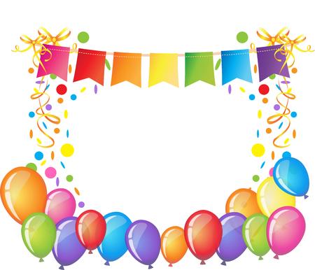 Fond de célébration avec des confettis colorés, des rubans et des ballons. Modèle de carte de voeux anniversaire.