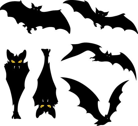 vampire bats: Vampire bats silhouette illustration on white background