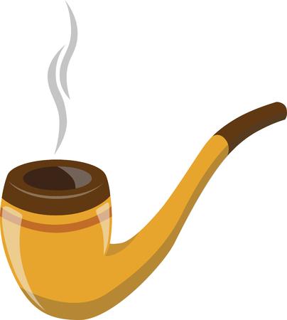 brown smoking pipe. modern flat design icon with smoking pipe.