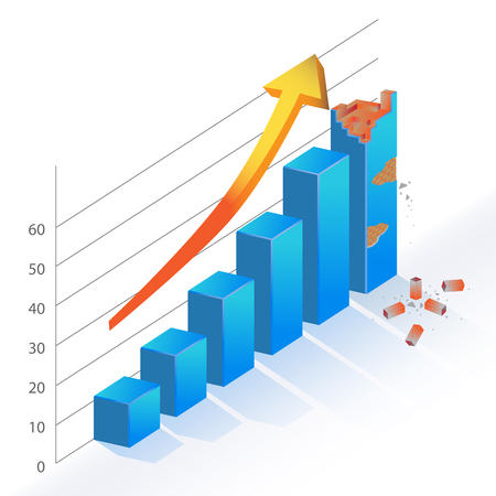 wrecked: Business Statistic Bar Chart wrecked broken brick 3d diagram illustration