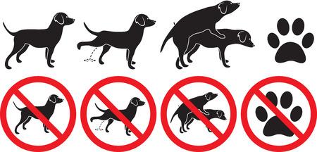 犬シルエットを作る愛と pawprint フット プリントをグルーミングおしっこサインの図記号を禁止  イラスト・ベクター素材