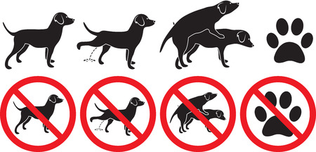 Dog sign illustration peeing grooming making love and pawprint footprint silhouette prohibited sign Illustration