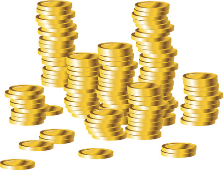 us coin: Coins stack illustration, coins icon flat, coins pile, coins money, one golden coin standing on stacked gold coins modern design isolated on white background