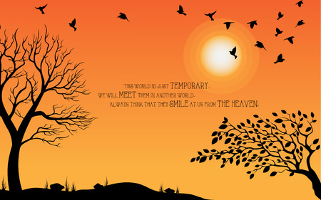 Heaven illustration on theme of Halloween. Bird, tree, moon, and stone silhouette on cemetery in autumn afternoon ambiance. Wishes for Happy Halloween. Trick or treat.