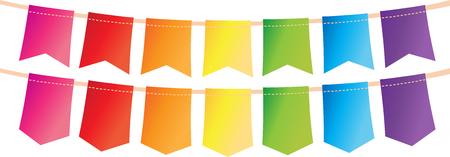 Colorful pennant bunting collection with stitch lines on white background design. Illustration