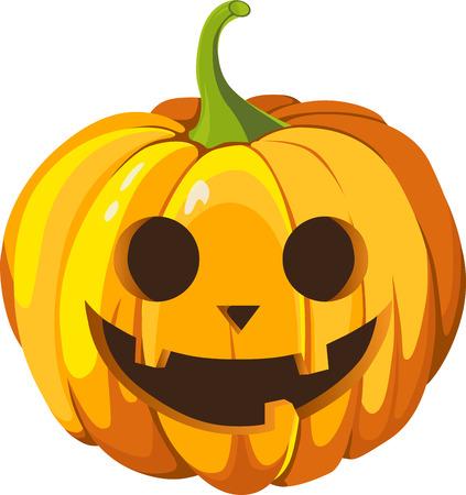 Pumpkin head illustration on white background.