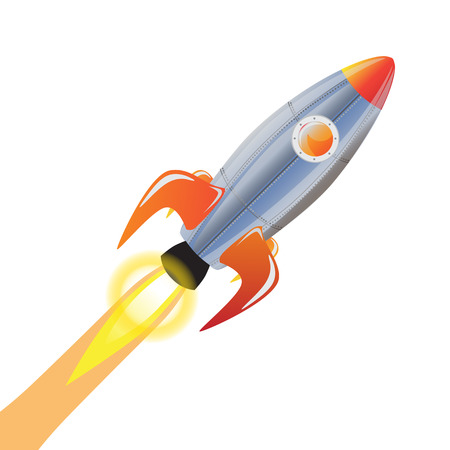 spacecraft: Rocket and technology space ship rocket cartoon icons. Speed galaxy fantasy rocket and futuristic spacecraft, astronaut modern element. Illustration