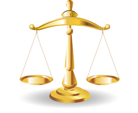 Scales of Justice symbolizing the measure of a cases support and opposition in a court of law. Scales of Justice. Illustration Scales of Justice.