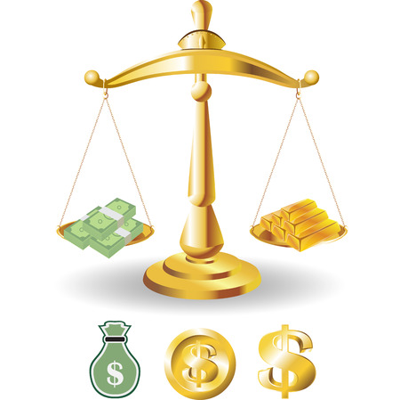 Scales of Justice symbolizing the measure of a cases support and opposition in a court of law. Scales of Justice. Illustration Scales of Justice. with dollar money and gold