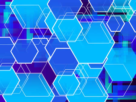 geometric abstract shapes with stylish blue background vector