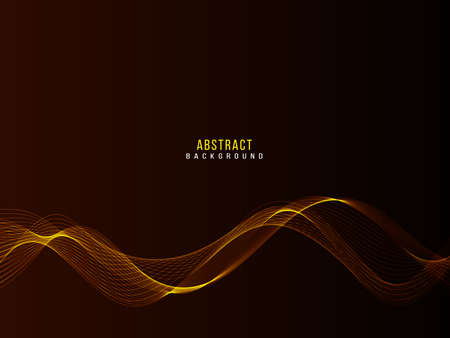 Abstract smooth gold wave design on dark background vector