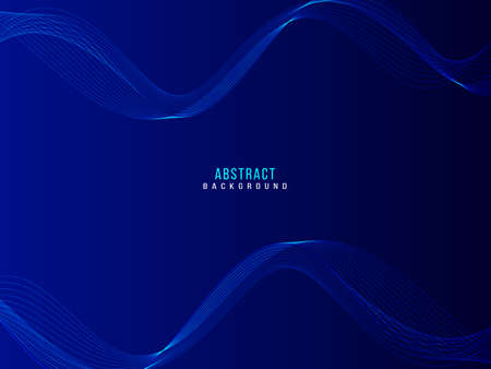 blue abstract smooth wave on dark background vector