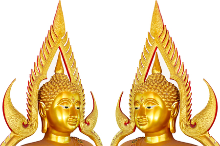 Golden Buddha isolated from Thailand on white background with clipping path