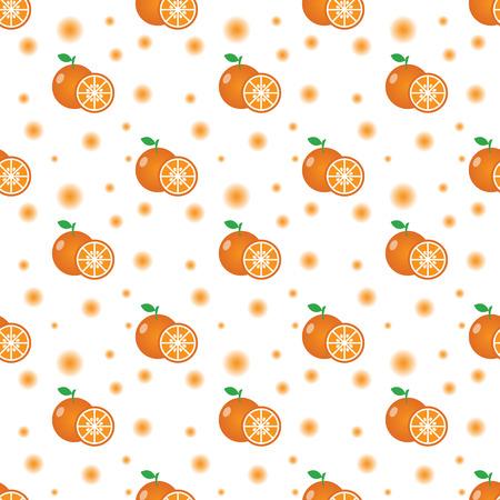 Seamless pattern with oranges, half orange and leaves. Vector texture illustration. Illustration
