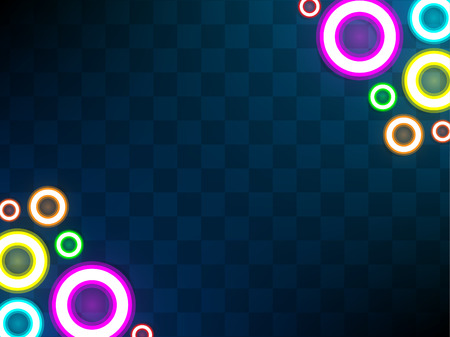 Circle neon lamp abstract background. Power glowing circle. Vector illustration.