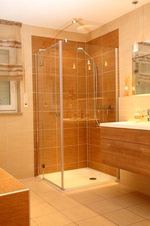 Luxury bathroom with a modern shower.