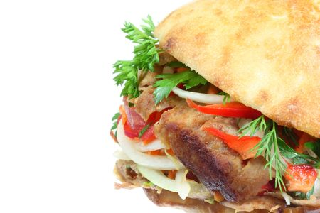 turkish kebab: Doner kebab on a white background.
