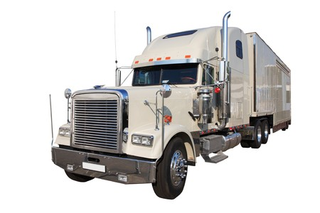 The white auto truck on a white background, Isolated