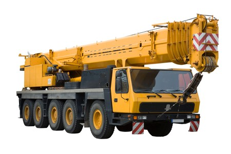 crane: Mobile crane on white background, isolated Stock Photo
