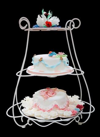 cake tier: Wedding cake on a black background, Isolated.