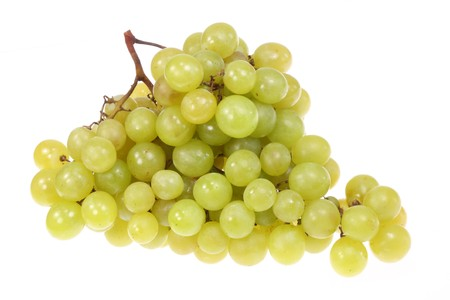 Green grapes on a white background.