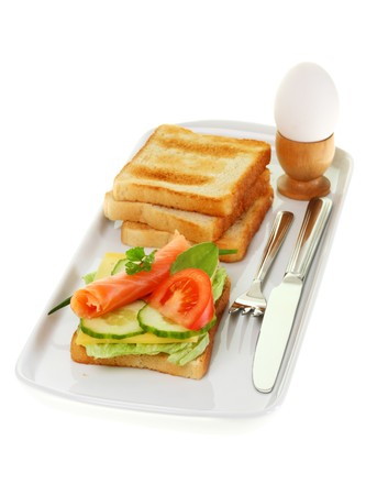 Plate of breakfast on white. photo