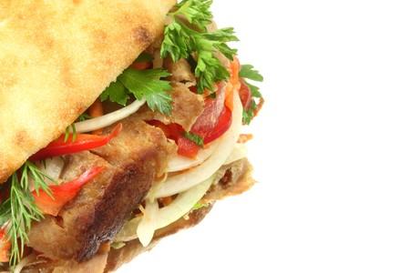 donner: Doner kebab on a white background.