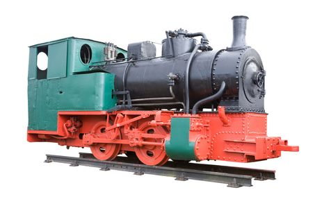Old steam locomotive isolated on white. photo