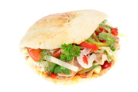 doner: Doner kebab on a white background.
